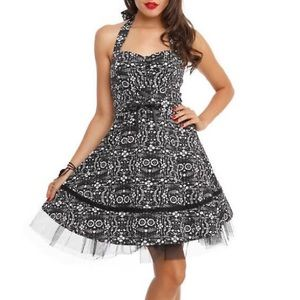 THE BOOK OF LIFE PRINTED HALTER SWING DRESS SMALL